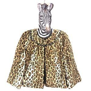 VICTOR ALFARO Cropped Faux Cheetah Cropped Jacket
